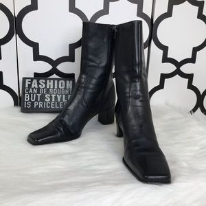 Michelle D Black Leather Heeled Booties